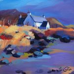 Rocky Shore & Cottage, Gigha Landscape by Pam Carter