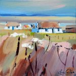 Thatched Bothies Uist painting by Pam Carter