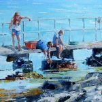 Catching Crabs, Ardminish Jetty by Erni Upton