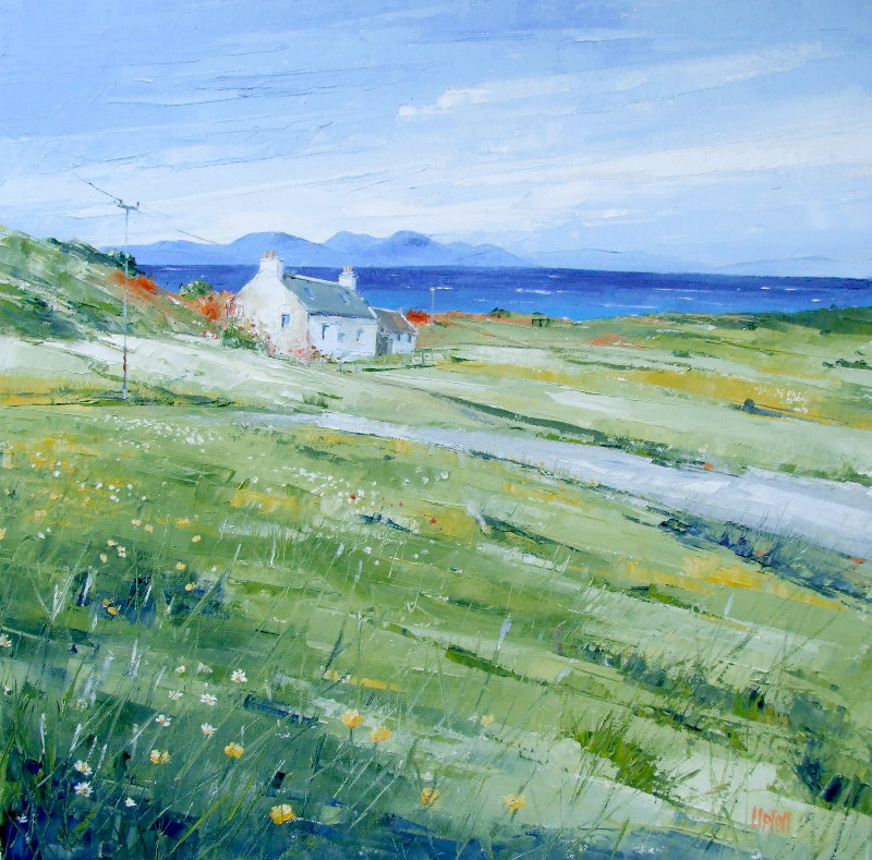On the Mill Road, Gigha, Jura distant