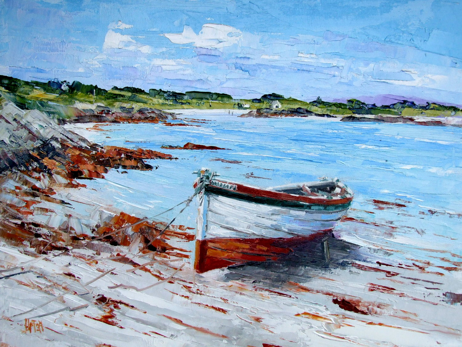 Oil Painting of Soarsa ashore, Boathouse Bay, Gigha