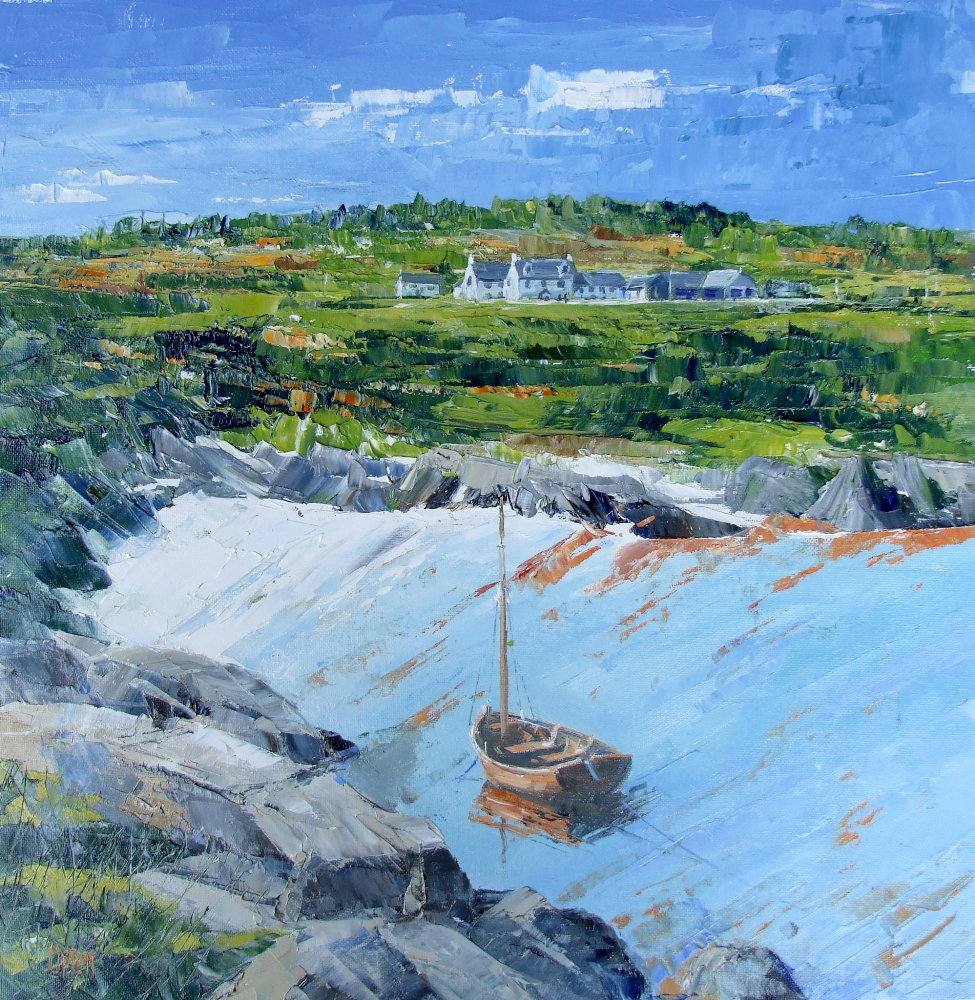 Landscape Painting, The Village from Johnnies Bay, Ardminish, the Isle of Gigha