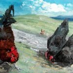 Oil Painting of A Rooster & 2 Hens on the Island of Iona, Scotland