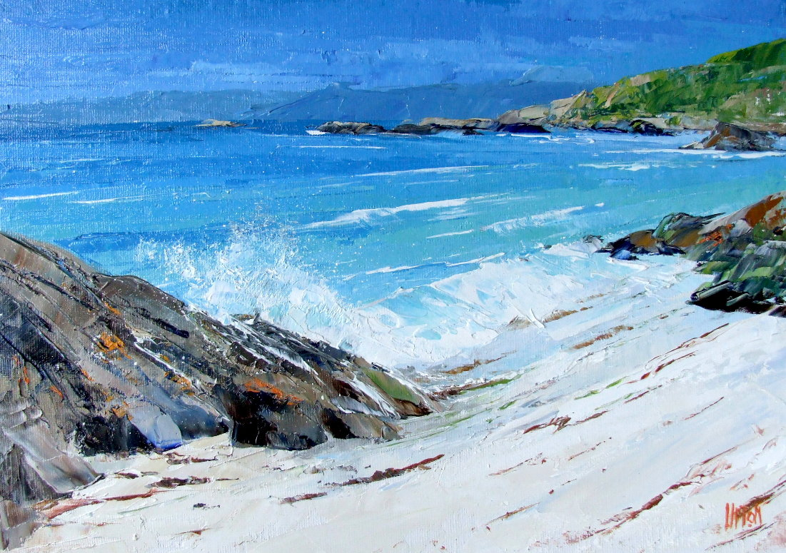 A Painting of a Breaking Sea Wave on a Sandy Shore by Fisherman's Cave, NW Gigha