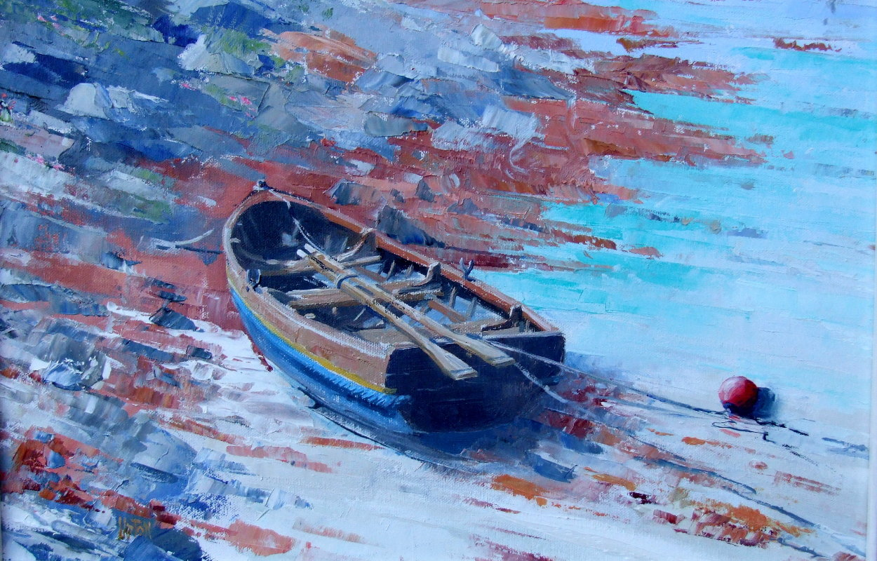 A Painting of a Ferryman's Dinghy on a Beach on the Isle of Gigha