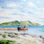 Painting of a Red Boat Docked at Lamlash Pier & Holy Island