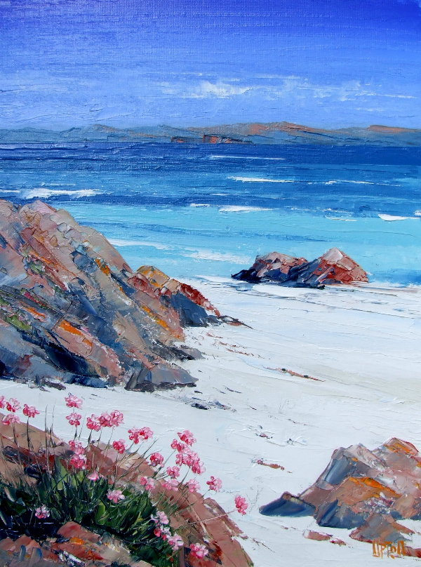 A Painting of the Beach of North Iona, the Surf & Sea Pink Flowers