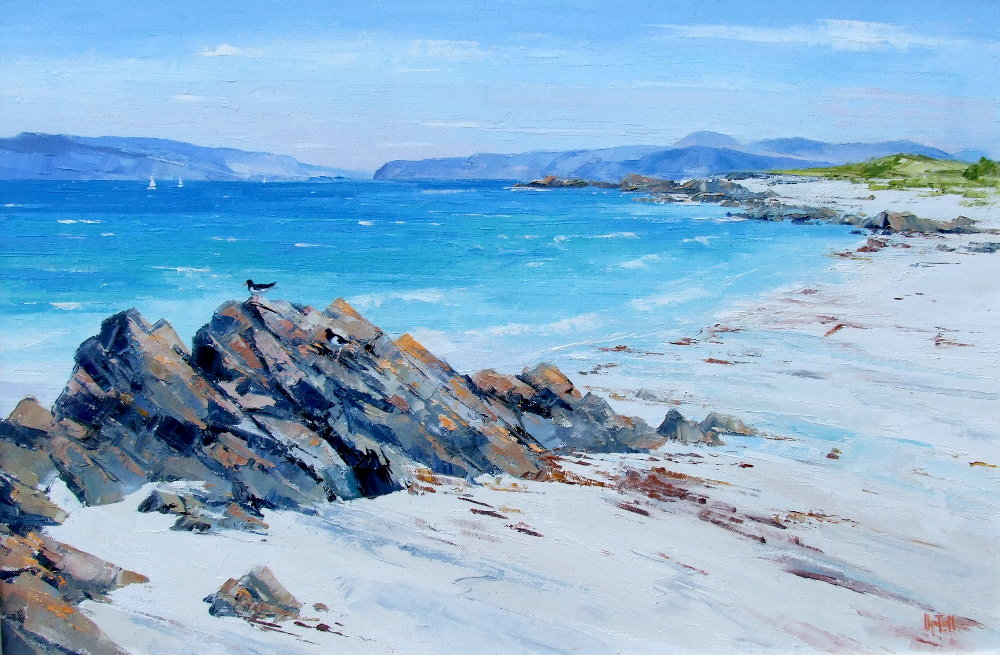 A Painting of Rocks & Sandy Beach & the Isle of Iona