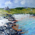 A Painting of a Rocky Shore Leading Up To The Boathouse at Ardminish on the Isle of Gigha