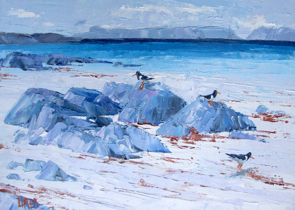 A Painting of Oyster Catchers on The Beach at Arisaig