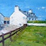 A Painting of Swallows in Flight & Tarbert Farm Cottage on the Isle of Gigha
