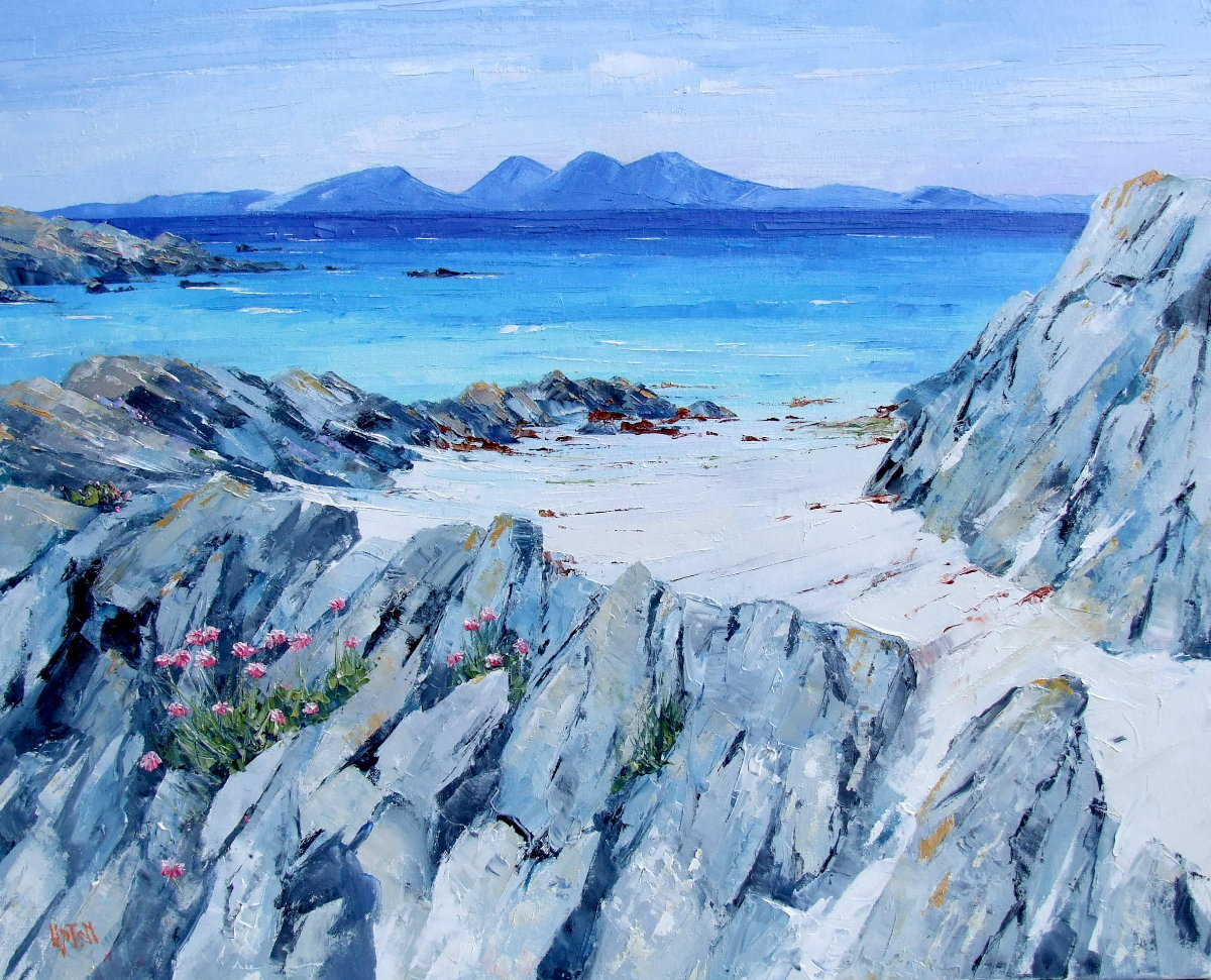 A Painting of The Isle of Jura Across The Sea From The Island of Gigha