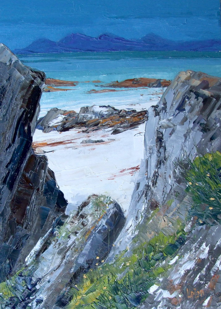 A Painting of Jura Viewed From Fisherman's Bay on Gigha