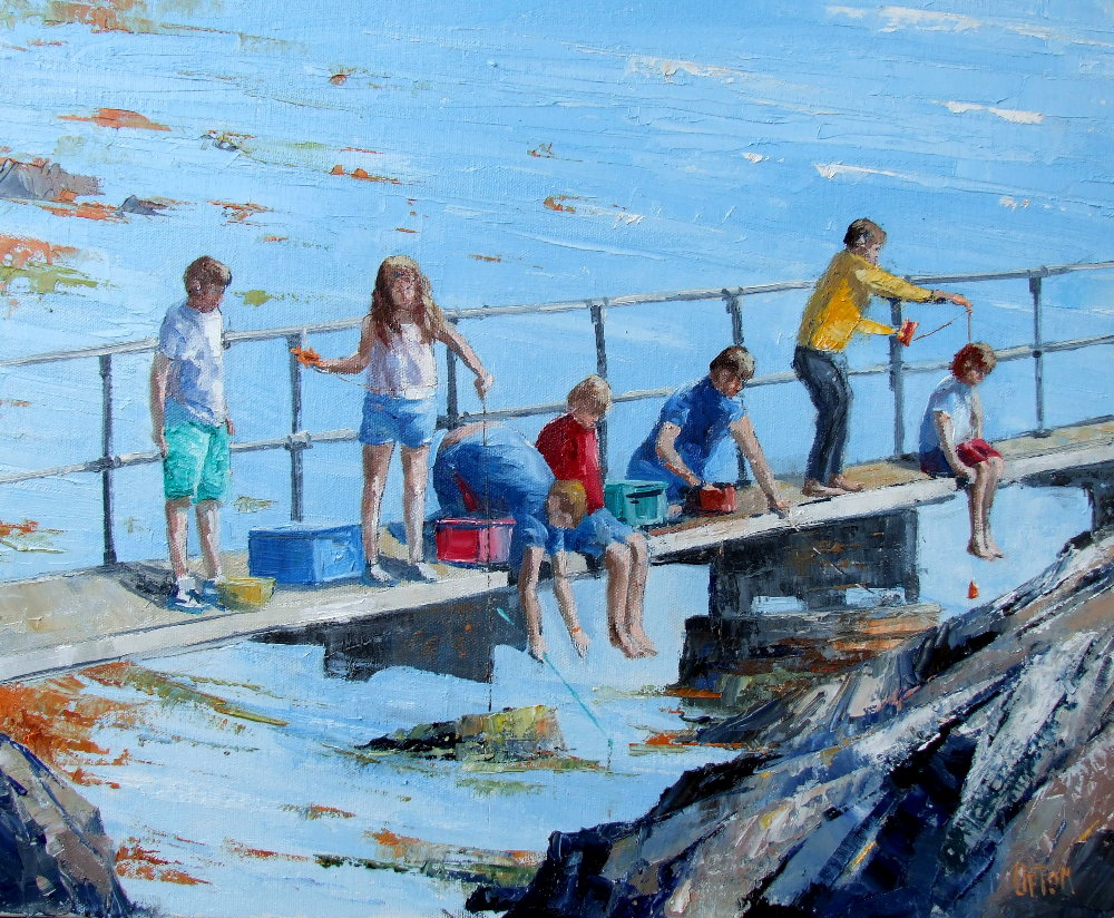 A Painting of Children Fishing for Crabs From The Causeway on the Isle of Gigha