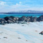 A Painting of the Beach at Monks' Strand on Iona with the Island of Mull in the Distance