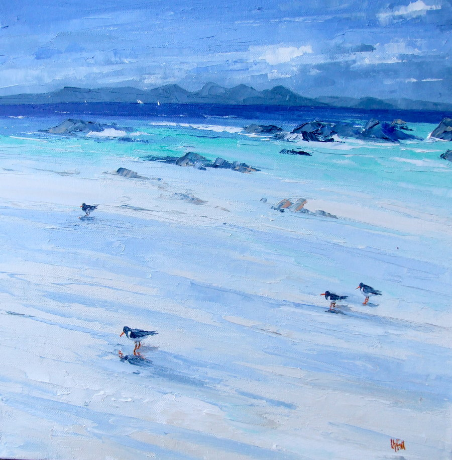 A Painting of Oystercatchers on the Beach at Port Ban on the Isle of Gigha